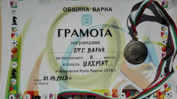 Победители по шахмат в Ученическа купа Варна 2018 г.